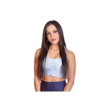 Top Fitness Feminino Cropped Casual Esportivo Confortável Azul