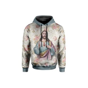 Moletom Com Capuz  Jesus Cristo Floral Md03