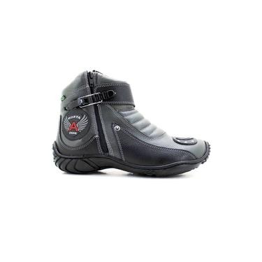 Bota Atron Shoes 271 Motociclista Cano Baixo - Cinza Preto