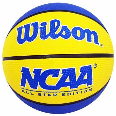 Bola de Basquete Wilson NCAA Mini Amarela e Azul 1028884