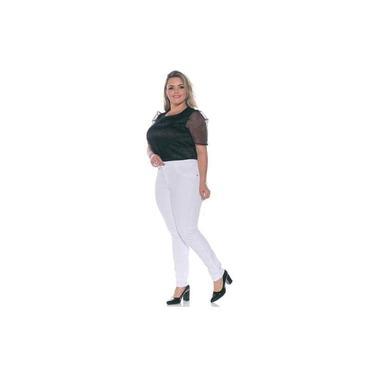 Calça Jeans Brim Feminina Branca Plus SIze