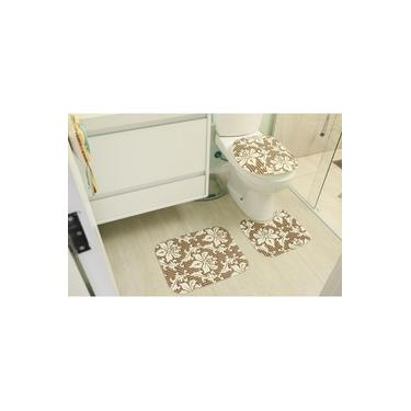 Imagem de Kit de Tapete para Banheiro 3 peças Tecil Mandala Caramelo