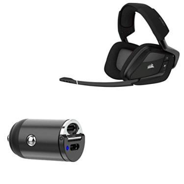 Carregador de carro sem fio Corsair Void Pro RGB, BoxWave [Mini carregador de carro PD duplo] Rápido, 2 carregadores USB para Corsair Void Pro RGB sem fio - Preto