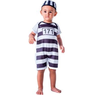 Imagem de Fantasia de Presidiário Ladrão 171 Bebê Com Gorro 3 a 18 meses