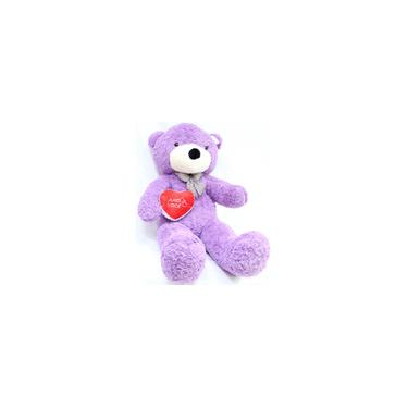 Imagem de Urso Lilas Roxo Romântico Coração de Pelúcia Gigante 140cm