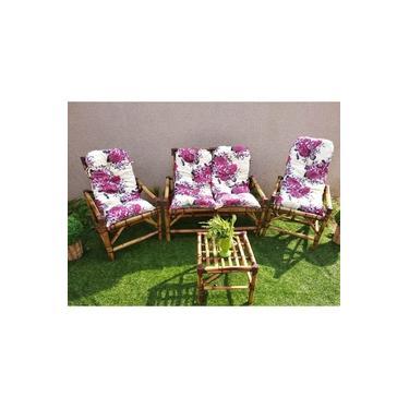 Conjunto Sofá De Área Bambu 4 Lugares - 1 Sofá + 2 Cadeiras + 1 Mesa
