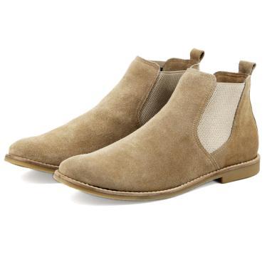 Bota Javali Chelsea Boots de Couro Areia  masculino