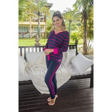 Pijama Viscolycra confort estampado com bolso - 5116 (P)