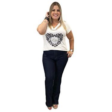 Calça Jeans Flare Plus Size Feminina Boot Cut (46)