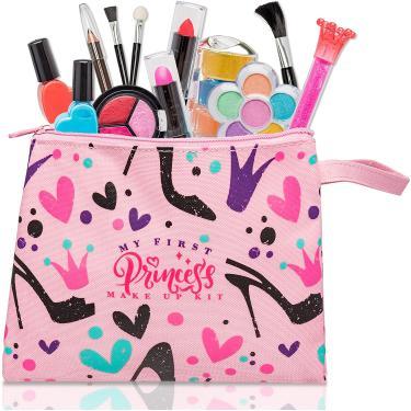 Imagem de Meu primeiro kit de maquiagem princesa - 12 pc kids conjunto de maquiagem - maquiagem de mentira lavável para meninas - Estes brinquedos de maquiagem para meninas incluem tudo o que sua princesa precisa para brincar vestir- vem com bolsa elegante