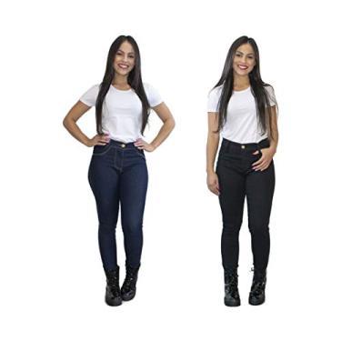 Kit 2 Calças Jeans Feminina Skinny Cós Alto Luma Ventura Azul Escuro e Preta (42)