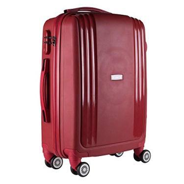 Imagem de Mala de Viagem Media em Polipropileno Yins 21074 Cadeado Integrado Rodas Duplas Vermelha