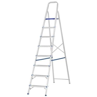 Escada De Alumínio Doméstica 8 Degraus Prima E1208 Alustep