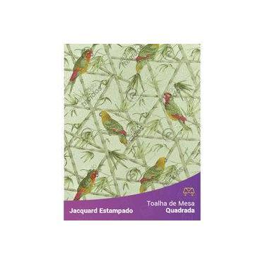 Imagem de Toalha De Mesa Quadrada Em Tecido Jacquard Estampado Floral Papagaio Verde