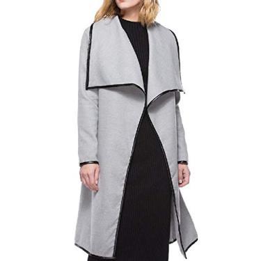 Doufine vestido feminino de poliuretano macio com costura frontal aberto estilo baggy, Cinza, L