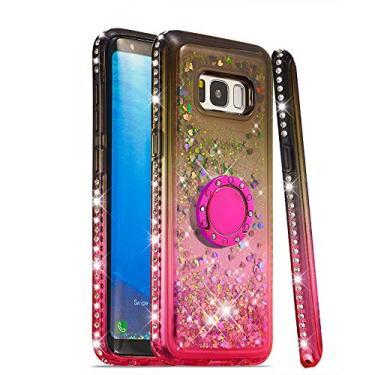Capa GLORYSHOP para Samsung Galaxy S8, glitter gradiente areia movediça Bling diamante flutuante líquido com anel de suporte TPU macio bumper capa feminina para Samsung Galaxy S8, marrom e rosa