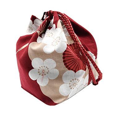 Imagem de Colcolo Bolsa japonesa flor de cerejeira com cordão feminino kawaii festa kimono bolsa moeda bolsa para casa lancheira Bento caixa bolsa para telefone - Vinho vermelho