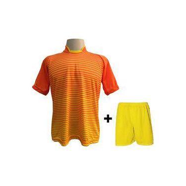 Uniforme Esportivo Com 12 Camisas Modelo City Laranja amarelo + 12 Calções  Modelo Madrid Amarelo a4955a8a711cf