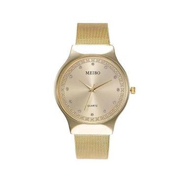 Relógio Feminino Dourado Brilhante Malha De Aço Strass