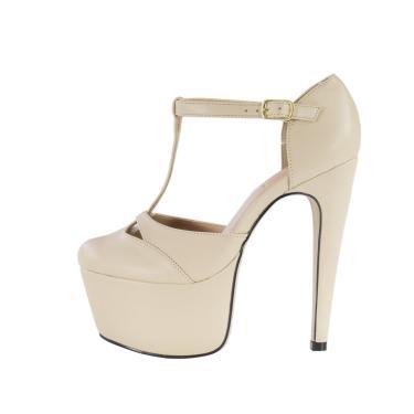 Sandália salto 15 Week Shoes bico fechado amendoa  feminino