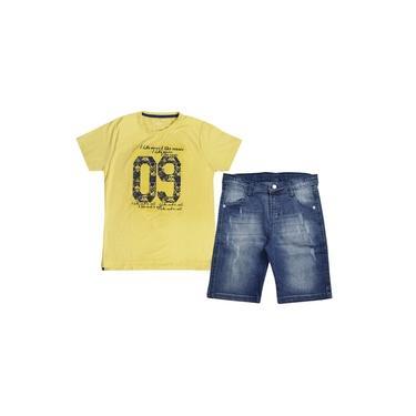 Conjunto Camiseta Mostarda e Bermuda Tom Quest