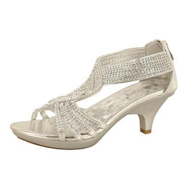JJF Shoes - 62 sandálias femininas de strass com tiras e salto baixo, Prata, 6