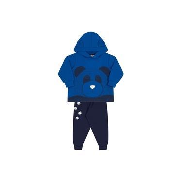 Conjunto Molekada 2 peças Jaqueta com Capuz e Calça Ursinho Azul