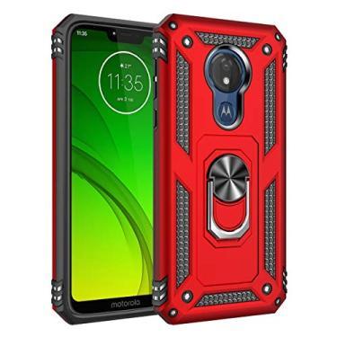Hicaseer Capa para Moto G7 Power (EUA), policarbonato + TPU antiqueda antichoque anti-arranhões magnético rotação de 360 graus capa completa para Motorola Moto G7 Power (EUA) – Vermelho