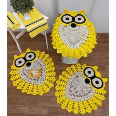 Imagem de Jogo De Banheiro Crochê 3 Peças - Coruja Amarelo - Produto F