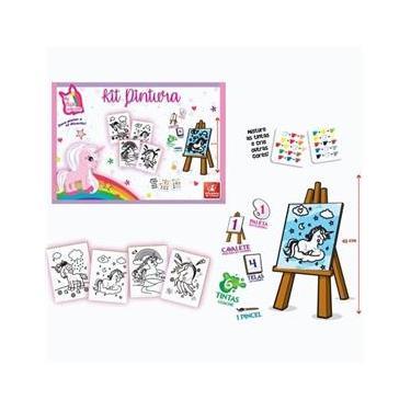Imagem de Brinquedo Para Colorir Unicórnios Kit C/04 Telas Brincadeira de Criança