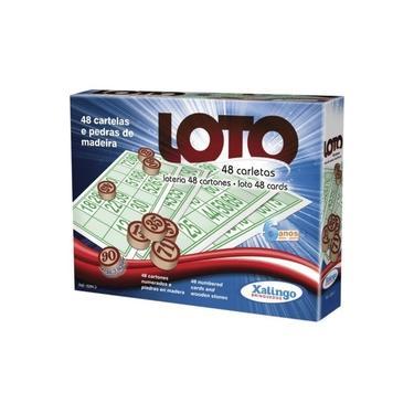 Imagem de Jogo de Bingo Loto 48 Cartelas c/Pedra Madeira - Xalingo