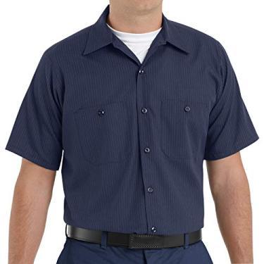 Imagem de Red Kap Camisa masculina de manga curta com tecnologia de desempenho, Azul marinho/azul claro com listras duplas, M