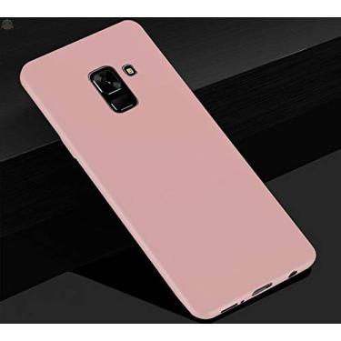 Kit Capa Tpu Fosca E Película Para Samsung Galaxy A6 Plus Tela 6.0Capinha Ultra Fina Slim Material Fosco e Película De Vidro Temperado 3d Full Cover Anti Impacto - Danet (Rosa)