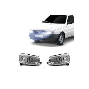 Farol Fiat Uno Mille 2005 A 2013 Arteb Principal Máscara Metalizada Foco Simples Encaixe H4