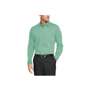 Camisa Social Masculina Bom Pano Manga Longa Lisa Verde Clara Lisa