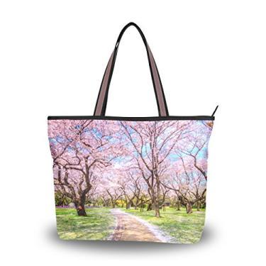 ColourLife Bolsa feminina com alça e passarela sob Sakura Tree Bolsa de ombro, Multicolorido., Large