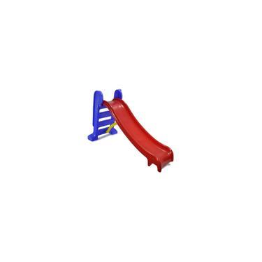 Imagem de Escorregador infantil médio 3 degraus playground vermelho e azul