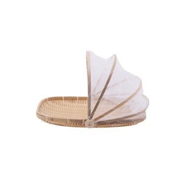 Imagem de Cesto Porta Pão Bolo Bambu Cobertura Retrátil Retangular Artesanal 42 x 27 x 5cm