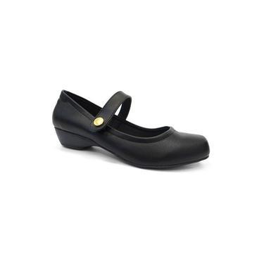 Sapato Feminino Boneca. Salto baixo. Renata Della Vecchia 93845 preto