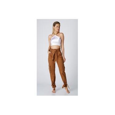Calça Jeans Express Mom Clochard Priscila Mostarda