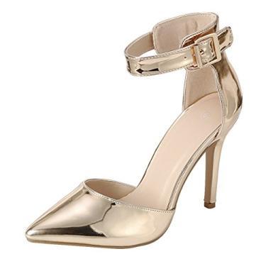 Cambridge Select Sapato feminino D'Orsay fechado bico fino fivela tira no tornozelo salto alto stiletto, Rose Gold Patent Pu, 10