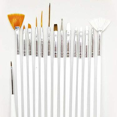 Imagem de Kit Pincel Artístico D&Z Manicure Gel Acrigel 15 Pinceis