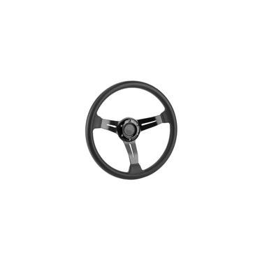 Imagem de Volante de corrida, volante universal de 14 polegadas, carro de corrida pu couro liga de alumínio com botão de buzina modificado