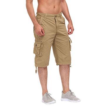 ESTRIVER Bermuda cargo masculina longa de algodão durável com vários bolsos, Caqui, 34
