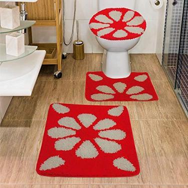 Imagem de Jogo de Tapete de Banheiro Jolitex Urban Hibisco 03 Peças