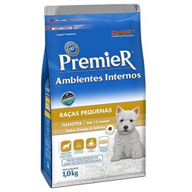 Ração Premier para Cães Filhotes de Raças Pequenas Ambientes Internos Sabor Frango e Salmão, 1kg Premier Pet Raça Filhotes,