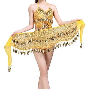DYNWAVE Cachecol de Quadril de Dança Do Ventre Cinto de Dança de Lantejoulas Borla Cinto de Saias de Moedas - Ouro