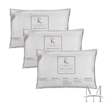 Imagem de Kit 03 Travesseiros Kacyumara Toque De Pluma 100% Algodão 233 Fios