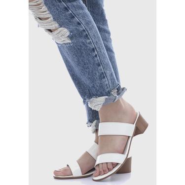 Imagem de Sandália Terra do Calçado Salto Baixo Branco  feminino