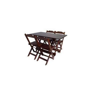 Conjunto Com Jogo De Mesa 120x70 Com 4 Cadeiras Dobráveis Imbuia - Reisol Móveis